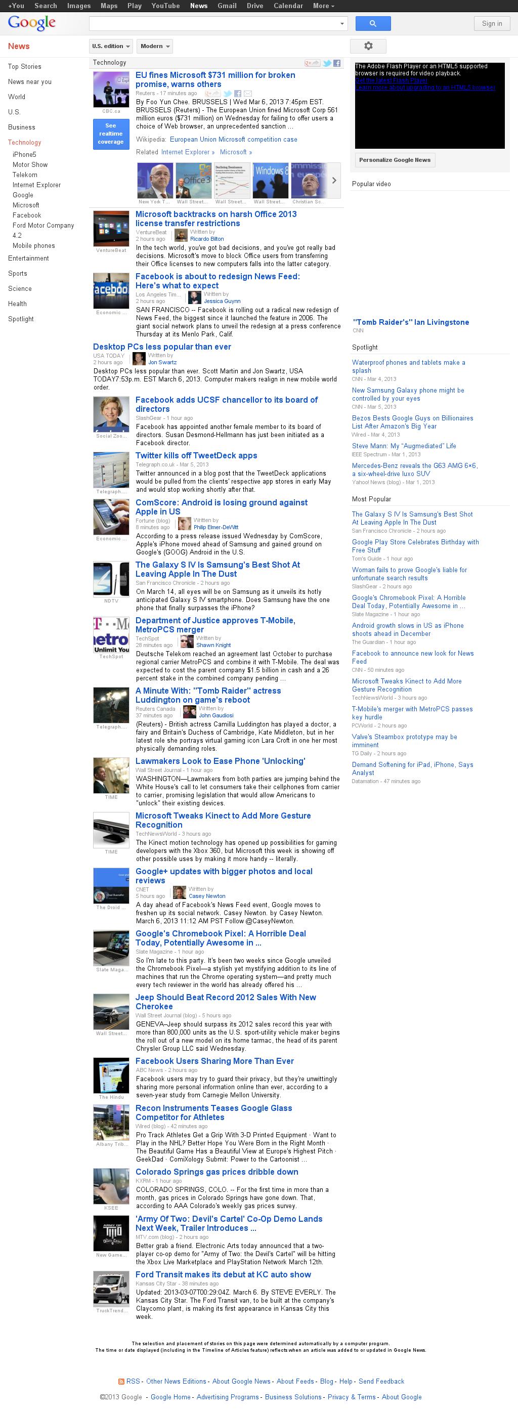 Google News: Technology at Thursday March 7, 2013, 1:08 a.m. UTC
