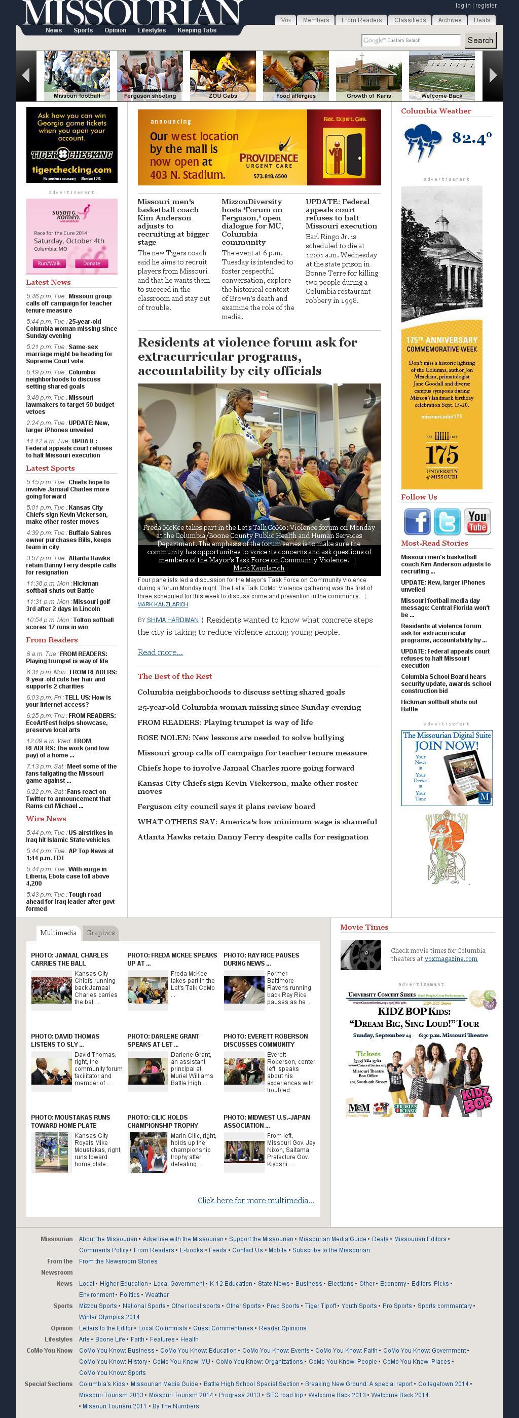 Columbia Missourian at Tuesday Sept. 9, 2014, 11:03 p.m. UTC