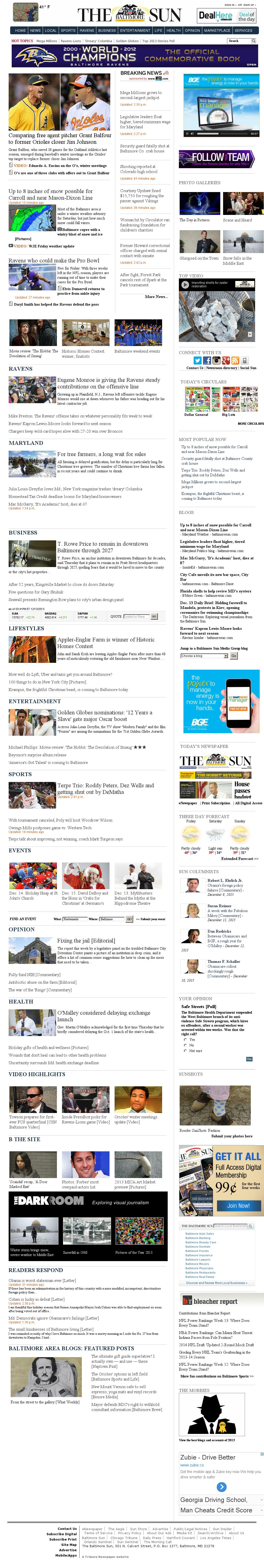The Baltimore Sun at Friday Dec. 13, 2013, 9 p.m. UTC