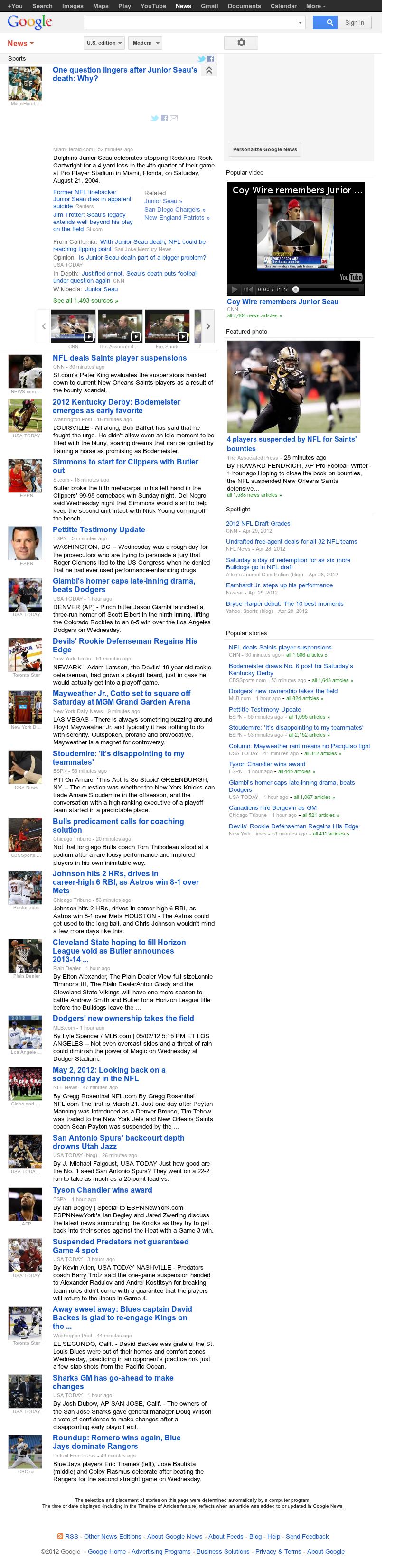 Google News: Sports at Thursday May 3, 2012, 1:06 a.m. UTC