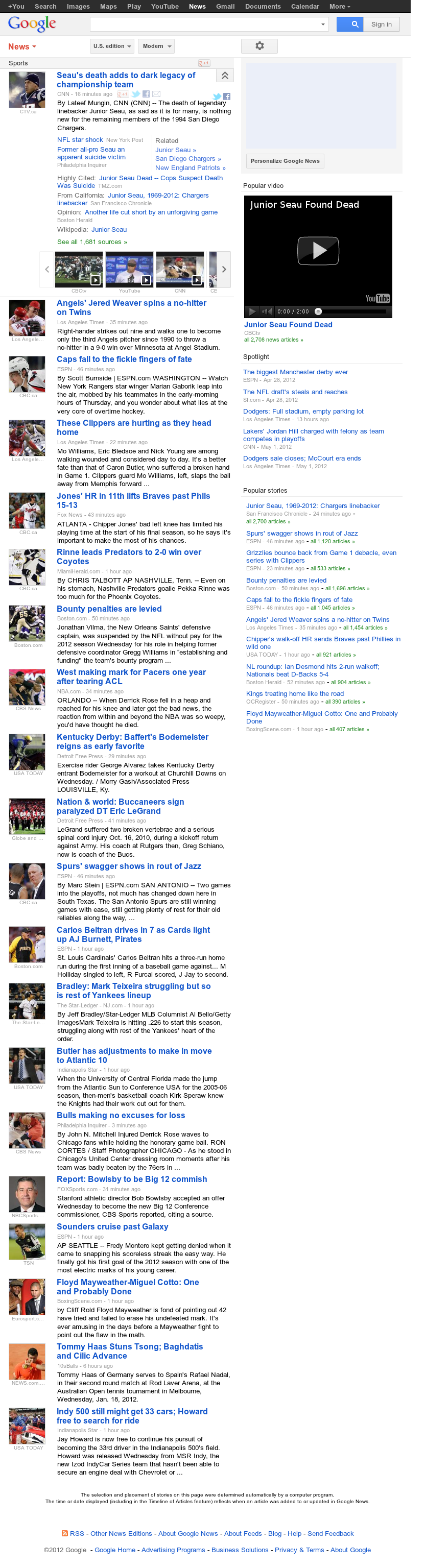 Google News: Sports at Thursday May 3, 2012, 7:06 a.m. UTC