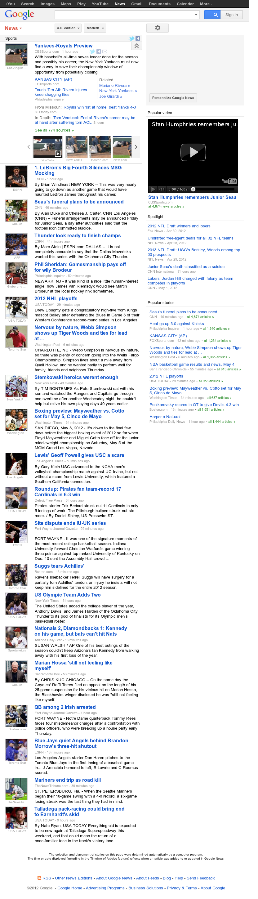 Google News: Sports at Friday May 4, 2012, 8:07 a.m. UTC