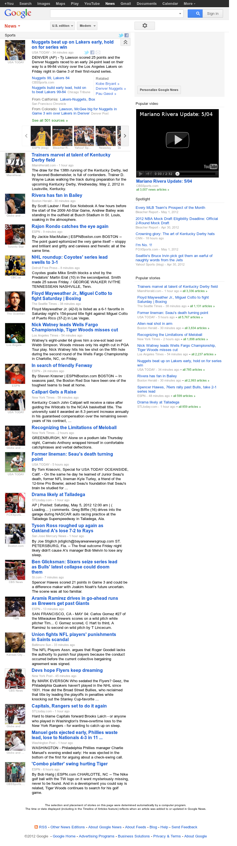 Google News: Sports at Saturday May 5, 2012, 6:08 a.m. UTC