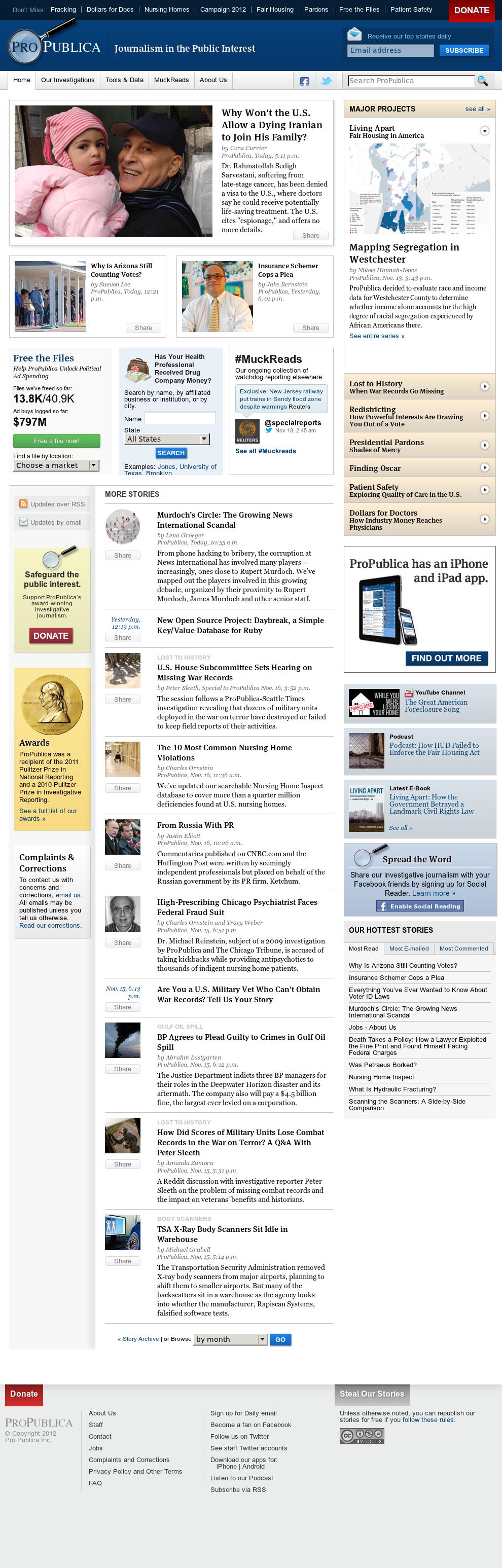 ProPublica at Tuesday Nov. 20, 2012, 11:26 p.m. UTC