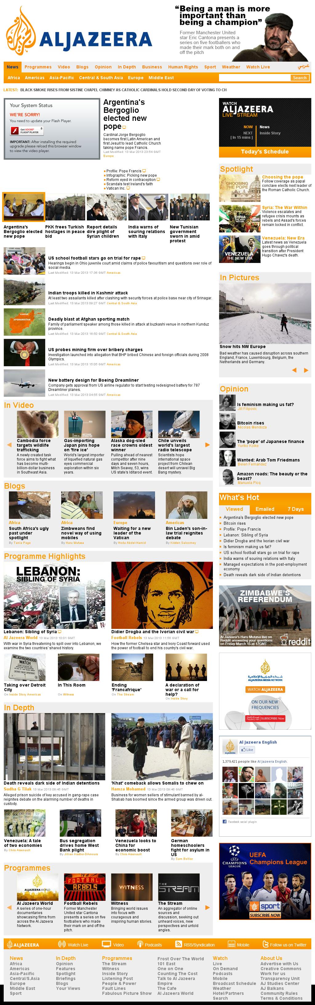 Al Jazeera (English) at Thursday March 14, 2013, 12:12 a.m. UTC