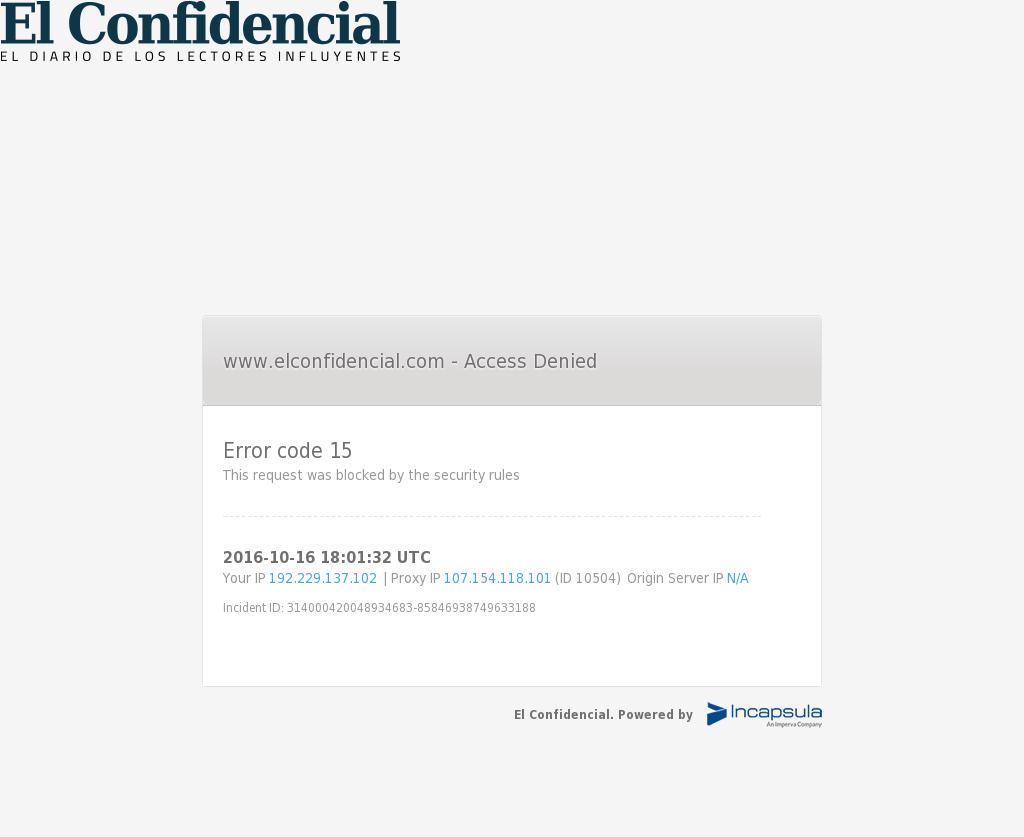 El Confidencial at Sunday Oct. 16, 2016, 6:03 p.m. UTC