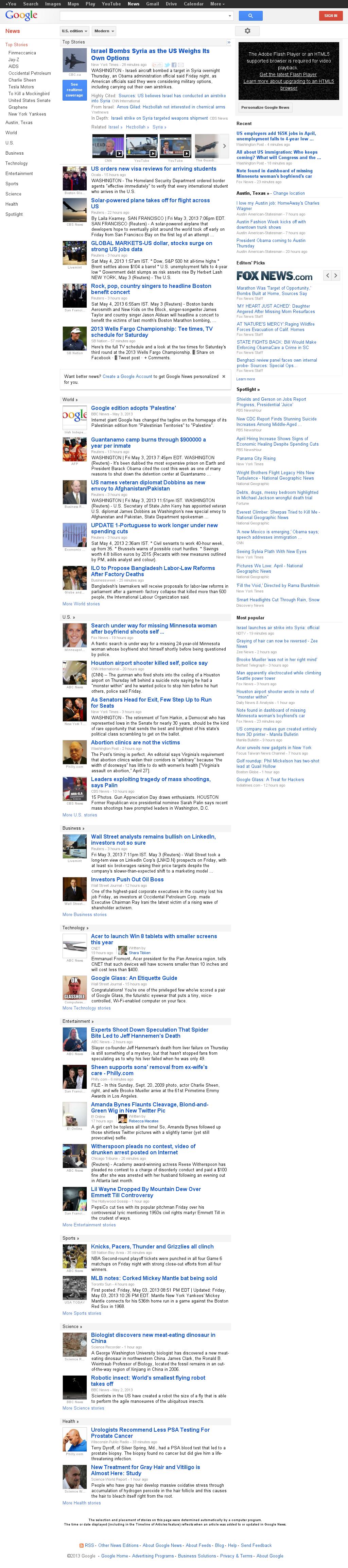 Google News at Saturday May 4, 2013, 1:09 p.m. UTC