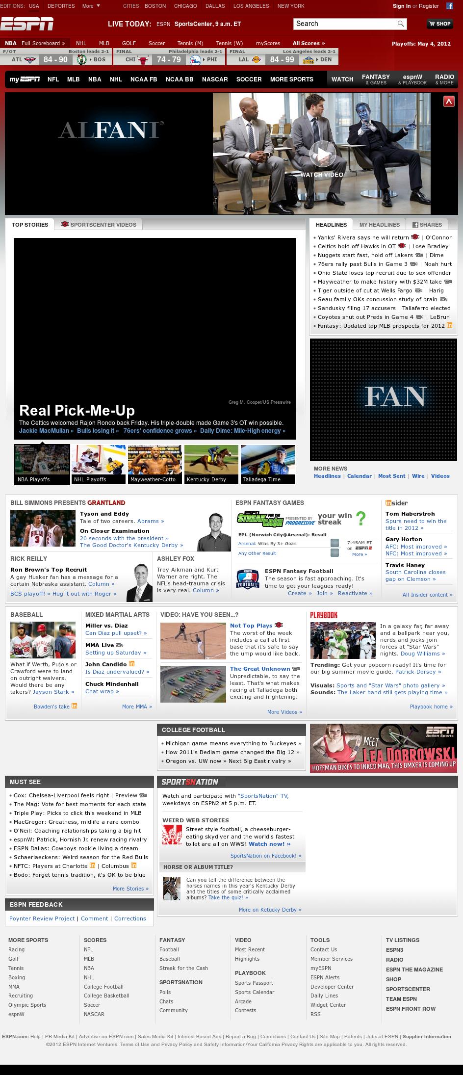 ESPN at Saturday May 5, 2012, 11:04 a.m. UTC