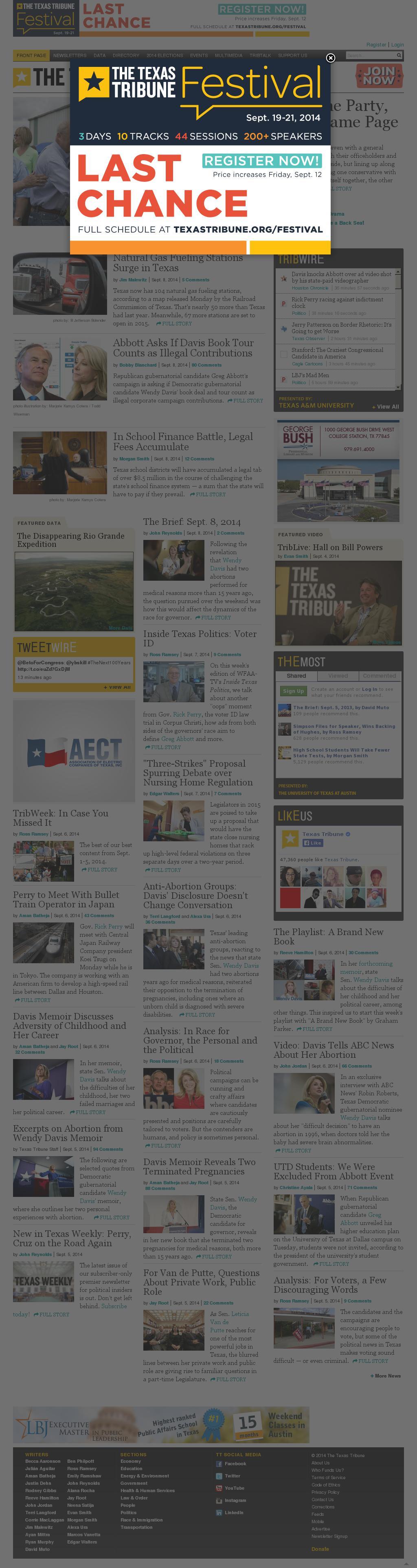 The Texas Tribune at Monday Sept. 8, 2014, 10:24 p.m. UTC