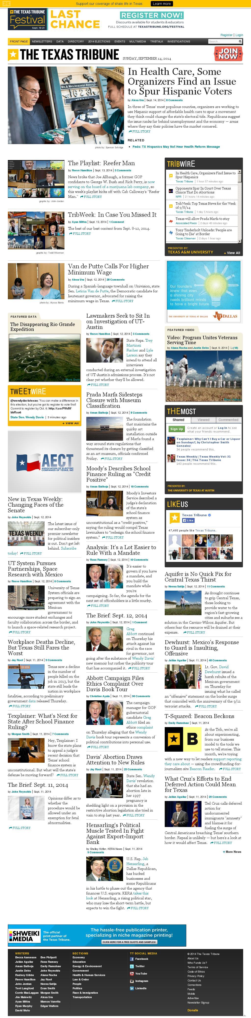 The Texas Tribune at Sunday Sept. 14, 2014, 8:18 p.m. UTC