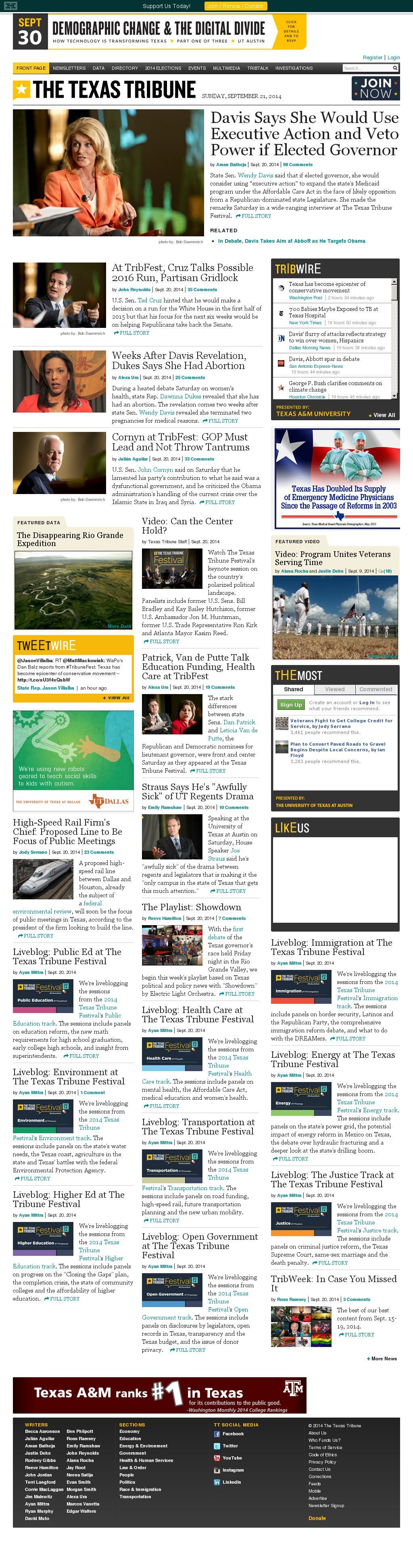 The Texas Tribune at Sunday Sept. 21, 2014, 7:18 a.m. UTC