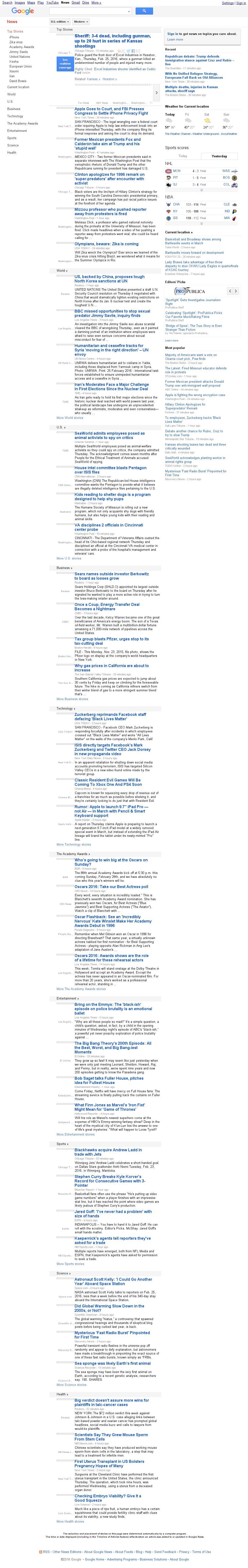 Google News at Friday Feb. 26, 2016, 2:07 a.m. UTC