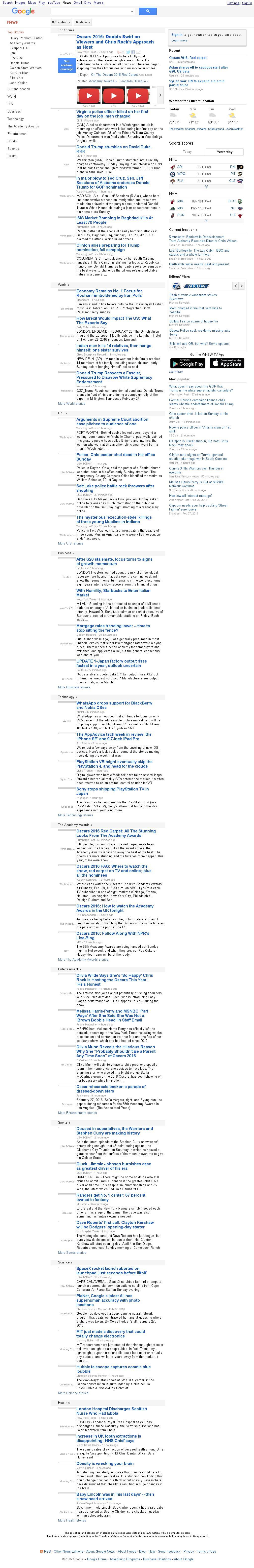 Google News at Monday Feb. 29, 2016, 1:07 a.m. UTC