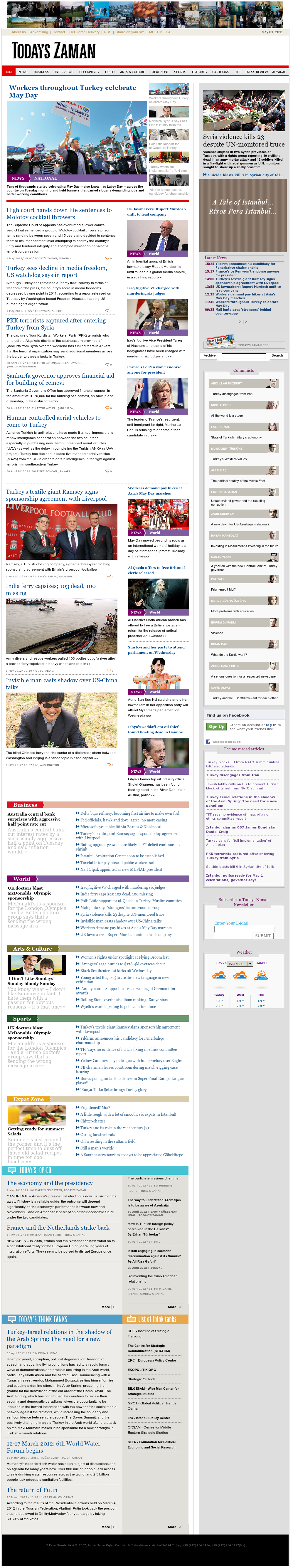 Zaman Online at Tuesday May 1, 2012, 1:17 p.m. UTC